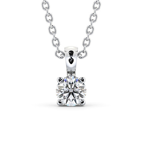 OneLove, Collier avec son Pendentif Diamant Solitaire 0.50 ct Or Blanc 18 carats
