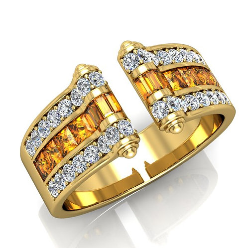 VENDOME ROYALE, Bague Joaillerie Diamants Citrine Or Jaune 18 carats