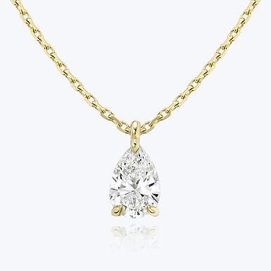 Poé, collier Diamant Solitaire 0,50 ct en forme de Poire / F / SI / Or 18 carats