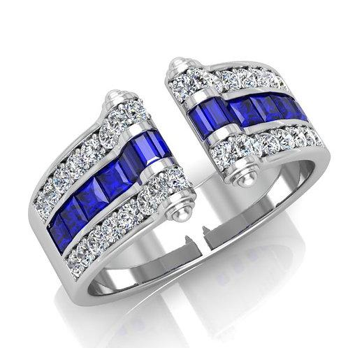 bague joaillerie pour femme or blanc 18K 750° d'or fin sertie de diamants ronds et saphirs bleu