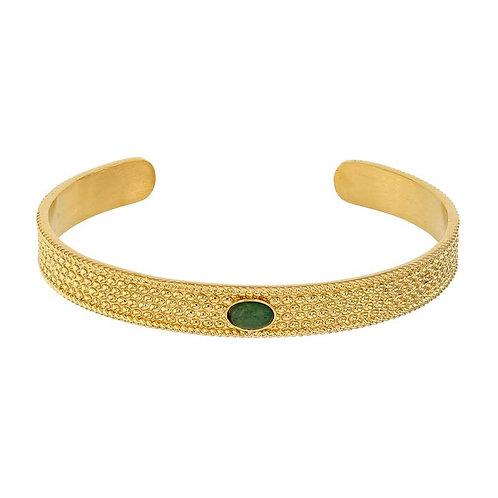 Bracelet Jonc Acier Inoxydable rhodié or jaune serti d'une Aventurine ovale