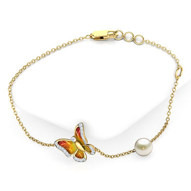 Bracelet Papillon émail Dorée en Diamants et Perle Or Jaune 18 carats