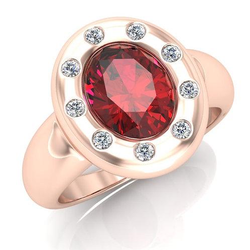 CLEA, Bague Diamant Rubis pour Femme Or Rose 18 carats
