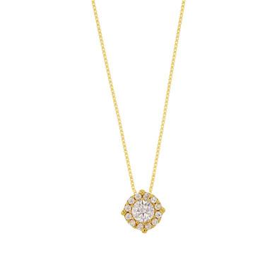 Laury, collier pendentif diamant en oxyde solitaire pour femme Or Jaune 9 carats