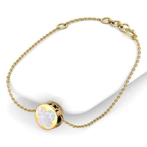 LOVE, bracelet papillon nacre rouge et blanc pour femme or jaune 18 carats