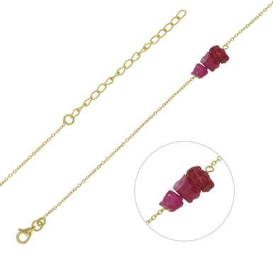 Bracelet Triple Rubis Naturel Argent 925 Rhodié Or Jaune pour Femme