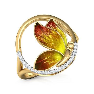 Bague Diamants émail Dorée Or Jaune 18 carats