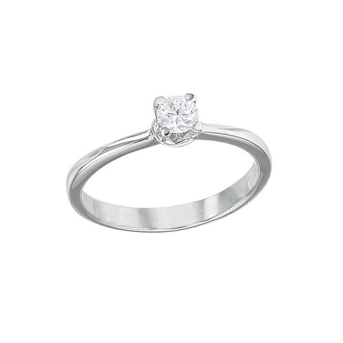 Fabe Classic B, Bague Diamant Solitaire Or Blanc 18 carats