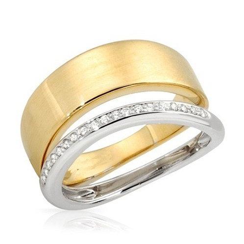 """Bague """"DUO"""" Ghaum Diamants pour Femme Or Jaune et Or Blanc 18 carats 750°"""