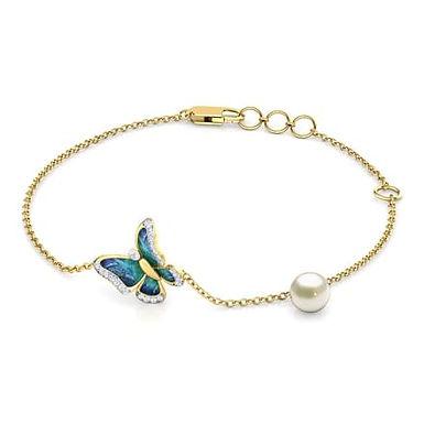 PAPILLON BLEU, bracelet diamants perle pour femme or jaune 18 carats