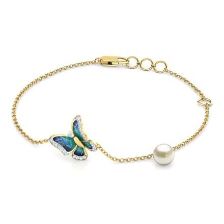 4dc92f0f6cfc8 PAPILLON BLEU, bracelet diamants perle pour femme or jaune 18 carats