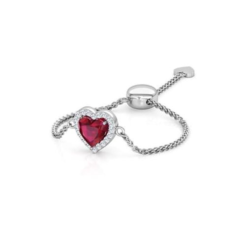 LOVE LINK-G, Bague Diamants Grenat Or Blanc 18 carats