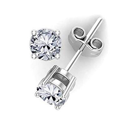 So by GHAUM, Boucles d'Oreilles Diamant Solitaire Or Blanc 18 carats
