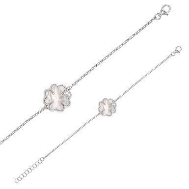 Bracelet Triple-Lov Argent 925 Rhodié Or Blanc Nacre de Tahiti pour Fem