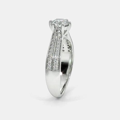Bague Diamant Solitaire Or Blanc 18 carats, Diva