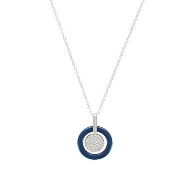 CELINE, collier pour femme en argent 925 et céramique 45 cm ajustable
