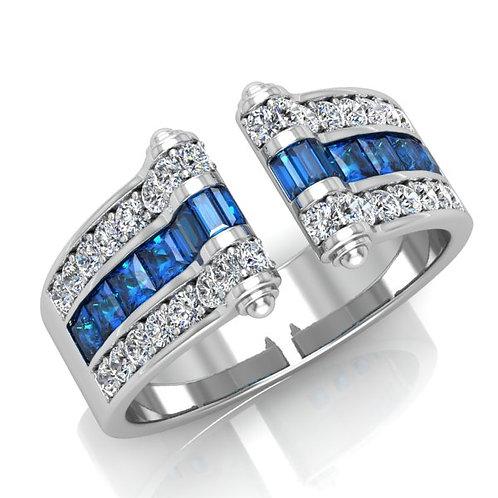 VENDOME ROYALE, Bague Joaillerie Diamants Topaze Or Blanc 18 carats