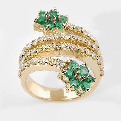 Romantic FbyG, Bague Diamants Emeraude pour Femme Or Jaune 18 Carats