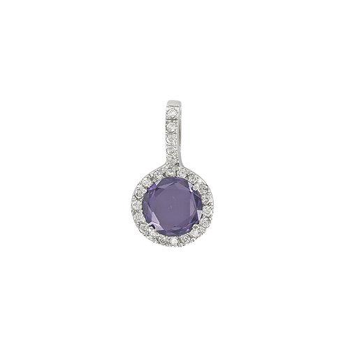 """Pendentif """"Tia"""" orné d'une améthyste et diamants en oxydes de zirconium"""