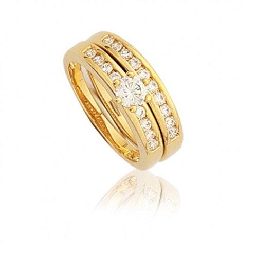 """DUO """"ELLE"""", Bague diamant en oxyde de zirconium pour femme plaqué or jaune"""