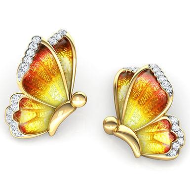 Boucles d'Oreilles Diamants émail Dorée Or Jaune 18 carats