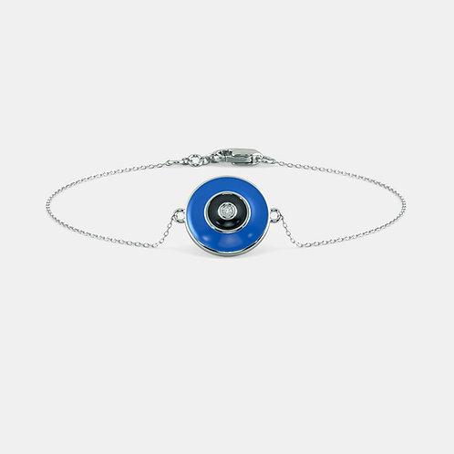 Bonne Fortune, Bracelet Or Blanc 18 carat Email serti d'un brillant rond