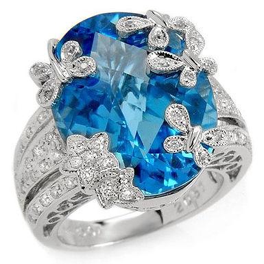 Papillon Bleu FbyG, Bague Diamant Topaze pour Femme Or Blanc 18 Carats