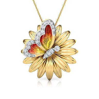 Collier Papillon émail Dorée en Diamants Or Jaune 18 carats