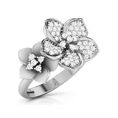 FLORE, Bague Alliance Diamants mariage pour Femme Or Blanc 18 carats 750°
