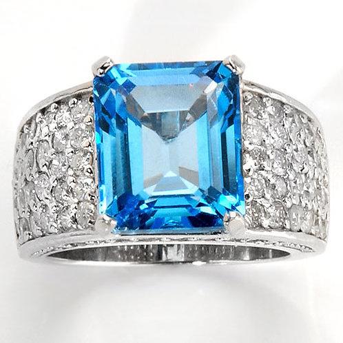 OMBELINE FbyG, Bague Diamant Topaze pour Femme Or Blanc 18 Carats
