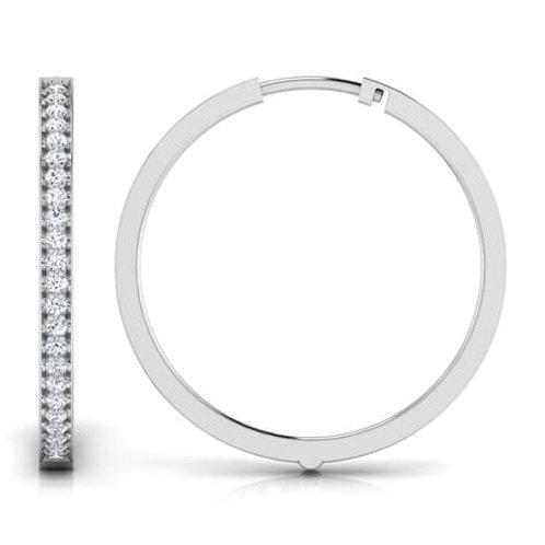 JAZZY, Boucles d'Oreilles Créoles Diamants pour Femme Or Blanc 18 carats