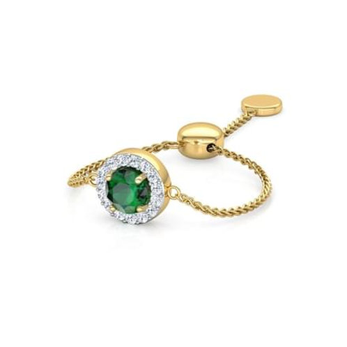 LOVE LINK-A, Bague Diamants Tsavorite Or Jaune 18 carats