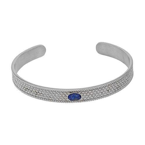 Bracelet Jonc Acier Inoxydable serti d'un Lapis Lazuli oval