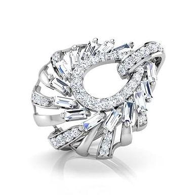 CALISTE, Bague Diamant Joaillerie pour Femme Or Blanc 18K 750° d'Or fin