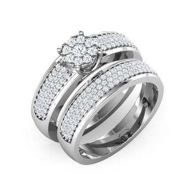 AMOUREUSE, Duo de Bague Diamant Solitaire pour Femme Or Blanc 18 carats 750°