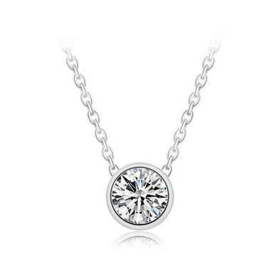 SOLO-2, collier pendentif solitaire en oxyde de zirconium pour femme argent 925