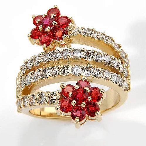 Romantic FbyG, Bague Diamants Saphirs pour Femme Or Jaune 18 Carats