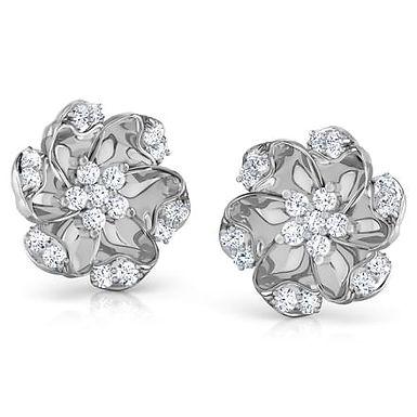GABY, Boucles d'Oreilles Diamants pour Femme en Platine
