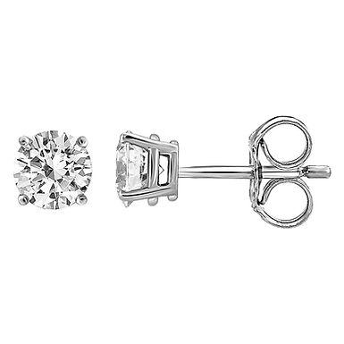 """Boucles d'Oreilles """"Puces"""" Diamant Solitaire Or Blanc 18 carats"""