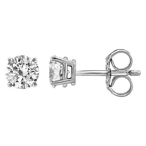 """Boucles d'Oreilles """"Puces"""" 2 x 0,22 ct Diamant Solitaire Or Blanc 18 carats"""