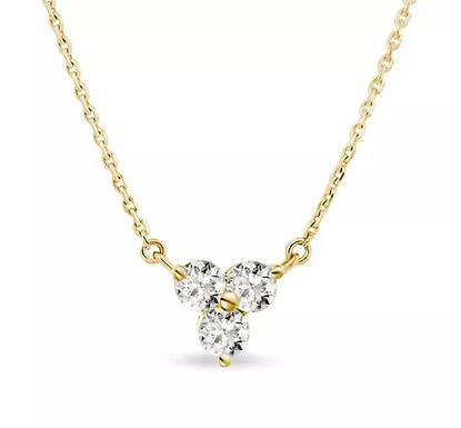 Swag Trio, Collier 3 Diamants Solitaires / F / VVS Or 18 carats