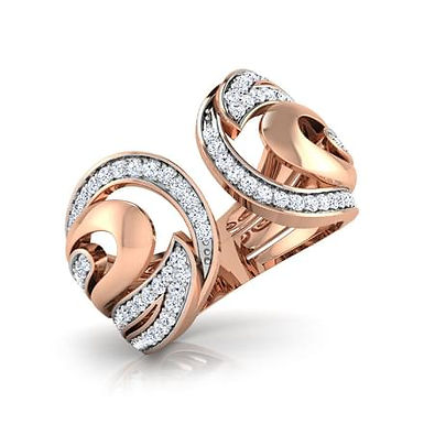 DEMILUNE FbyG, Bague Diamant Joaillerie pour Femme Or Rose 18 carats