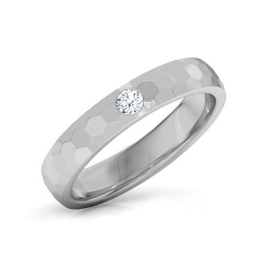 ALEXANDRE, Bague Alliance Diamant Solitaire Homme Platine