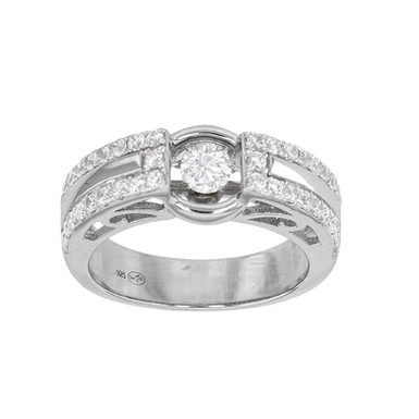 Charme Royal, Bague Alliance Solitaire Dansant pour Femme Or Blanc 18 carats