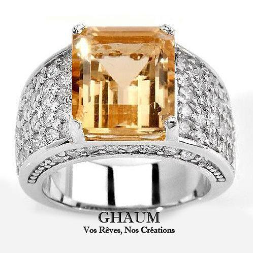 OMBELINE FbyG, Bague Diamant Citrine pour Femme Or Blanc 18 Carats