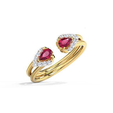 DemiLune Red, Bague Diamants Joaillerie pour Femme Or Jaune 18 carats