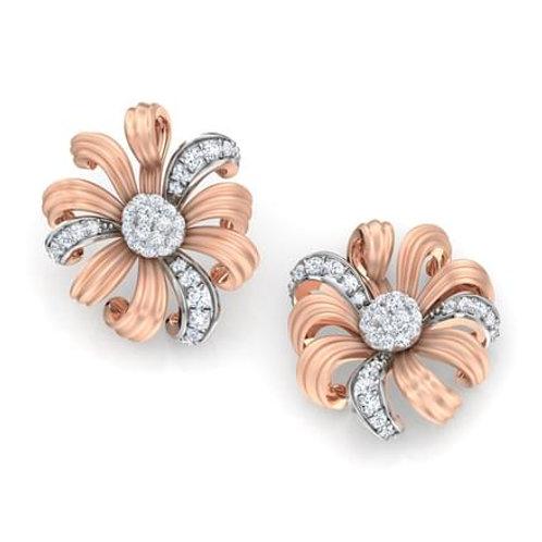 MARGUERITE, Boucles d'Oreilles Diamants pour Femme Or Rose 18 carats