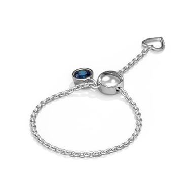 Blue Sun, Bague Diamant Or Blanc 14 carats - Taille Auto Ajustable 45 à 62