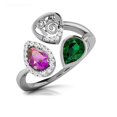 TRIA, Bague Diamants Tourmaline Améthyste pour Femme Or Blanc 18 carats
