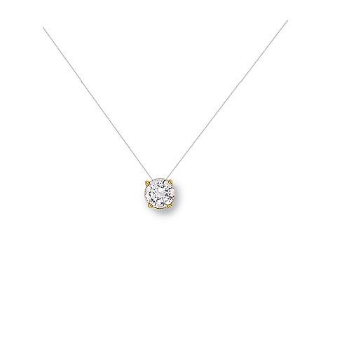 SOLEIL, collier pour femme Solitaire en oxyde de zirconium en plaqué or